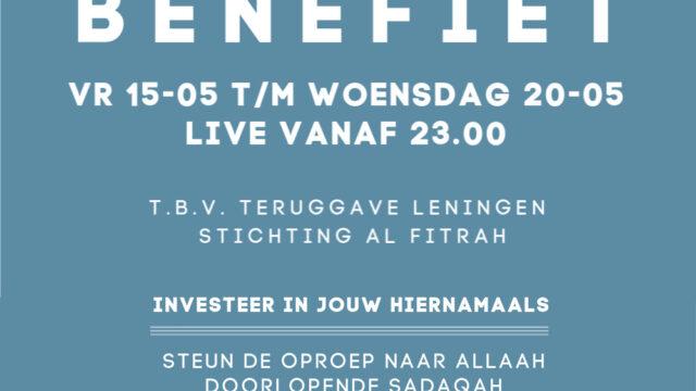 Live Benefiet vr 15 t/m wo 20 mei 2020